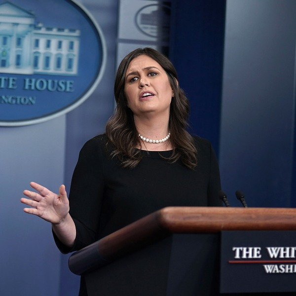 White House Press Secretary Sarah Huckabee Sanders conducts a White House daily news briefing at the James Brady Press Briefing Room of the White House June 14, 2018 in Washington, D.C. (Credit: Alex Wong/Getty Images)