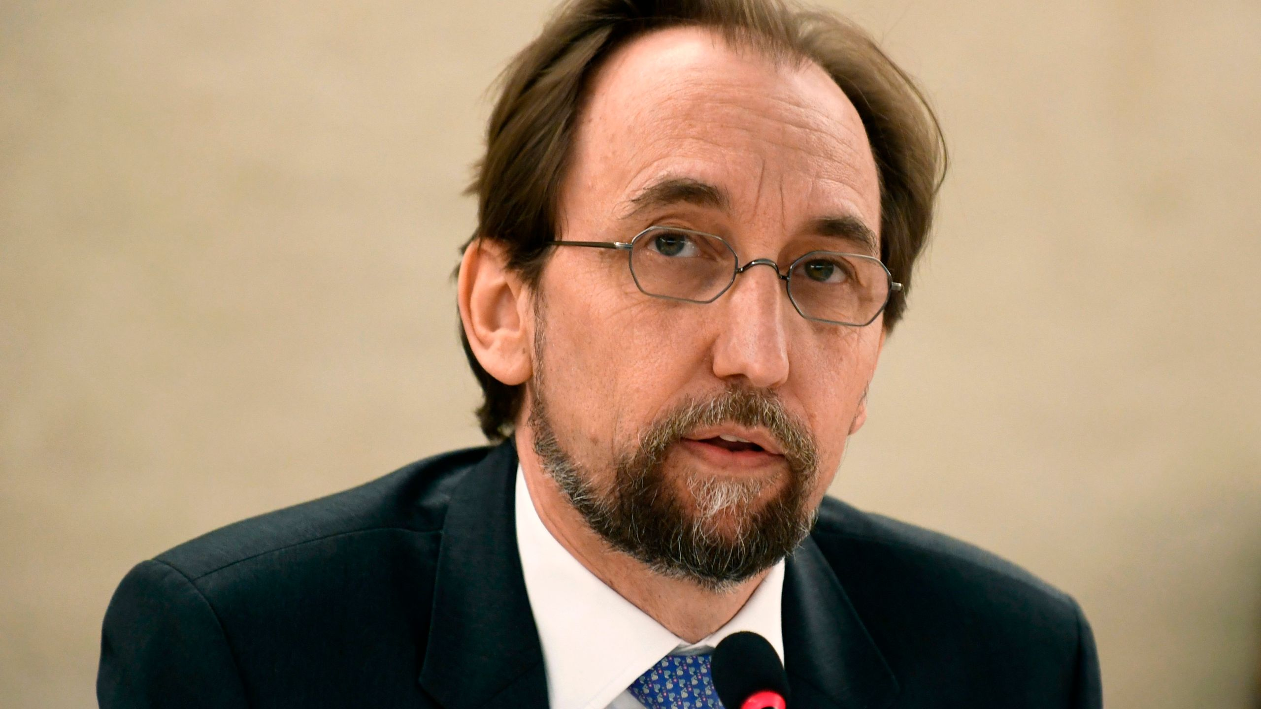 United Nations High Commissioner for Human Rights Zeid Ra'ad Al Hussein speaks during the opening of the 38th session of the UN Human Rights Council on June 18, 2018 in Geneva. (Credit: ALAIN GROSCLAUDE / AFP/Getty Images)