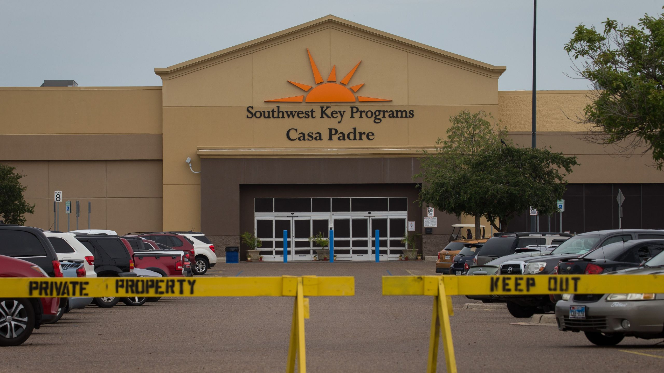 A former Walmart Supercenter now being used as a migrant children's shelter is pictured on June 18, 2018, in Brownsville, Texas. (Credit: Loren Elliott/AFP/Getty Images)