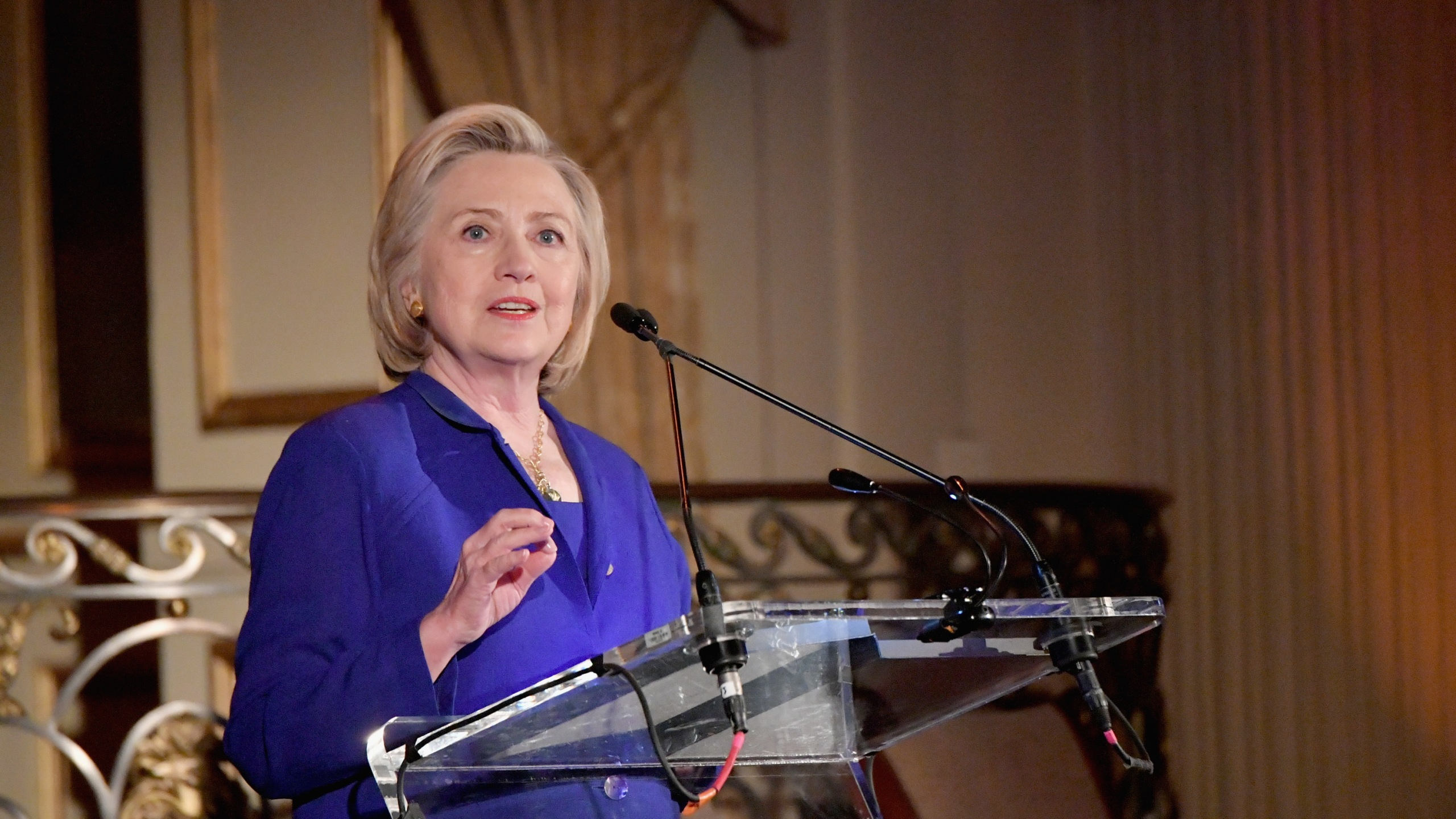 Hillary Clinton speaks during the 8th Annual Elly Awards hosted by the Women's Forum of New York at The Plaza Hotel on June 18, 2018. (Credit: Mike Coppola/Getty Images)