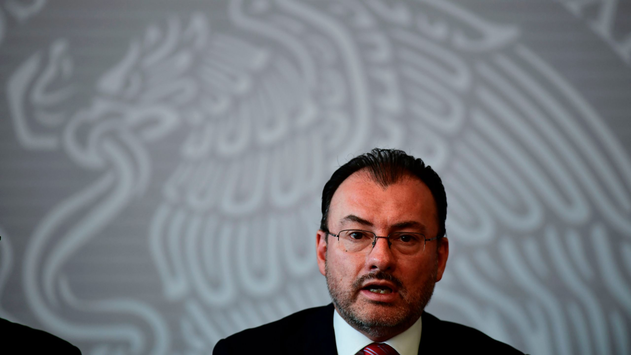 Mexican Foreign Minister Luis Videgaray appears in a press conference at the Ministry in Mexico City on June 19, 2018. (Credit: RONALDO SCHEMIDT/AFP/Getty Images)