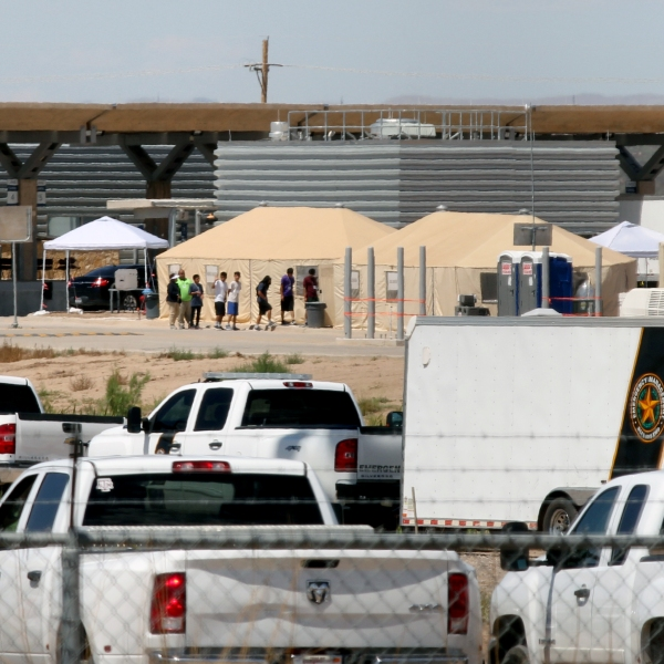 A temporary detention center for illegal underage immigrants in Tornillo, Texas, near the Mexico-U.S. border, is seen from Valle de Juarez, Mexico, on June 18, 2018. (Credit: HERIKA MARTINEZ/AFP/Getty Images)