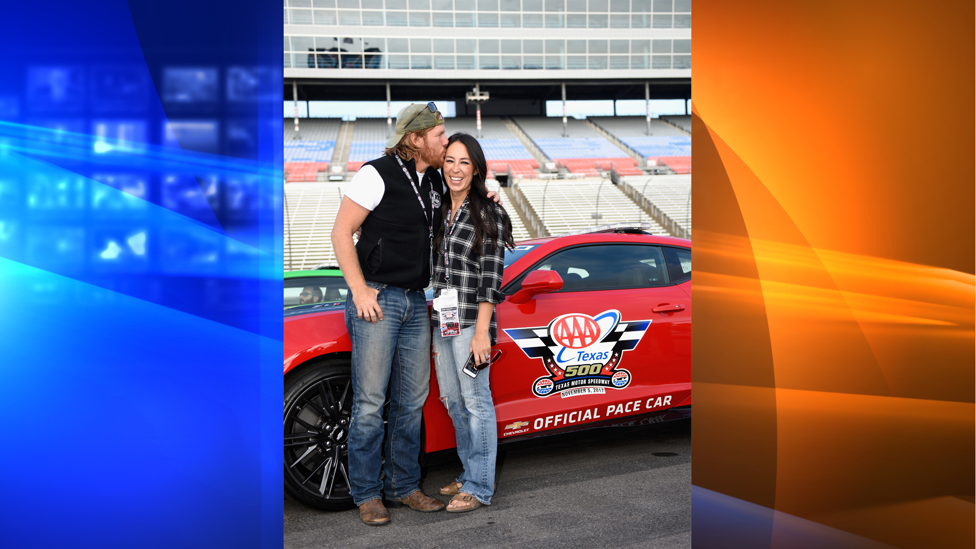 'Fixer Upper' stars Chip and Joanna Gaines pose with the Monster Energy NASCAR Cup Series AAA Texas 500 pace car at Texas Motor Speedway on November 5, 2017, in Fort Worth, Texas. (Credit: Jared C. Tilton/Getty Images)