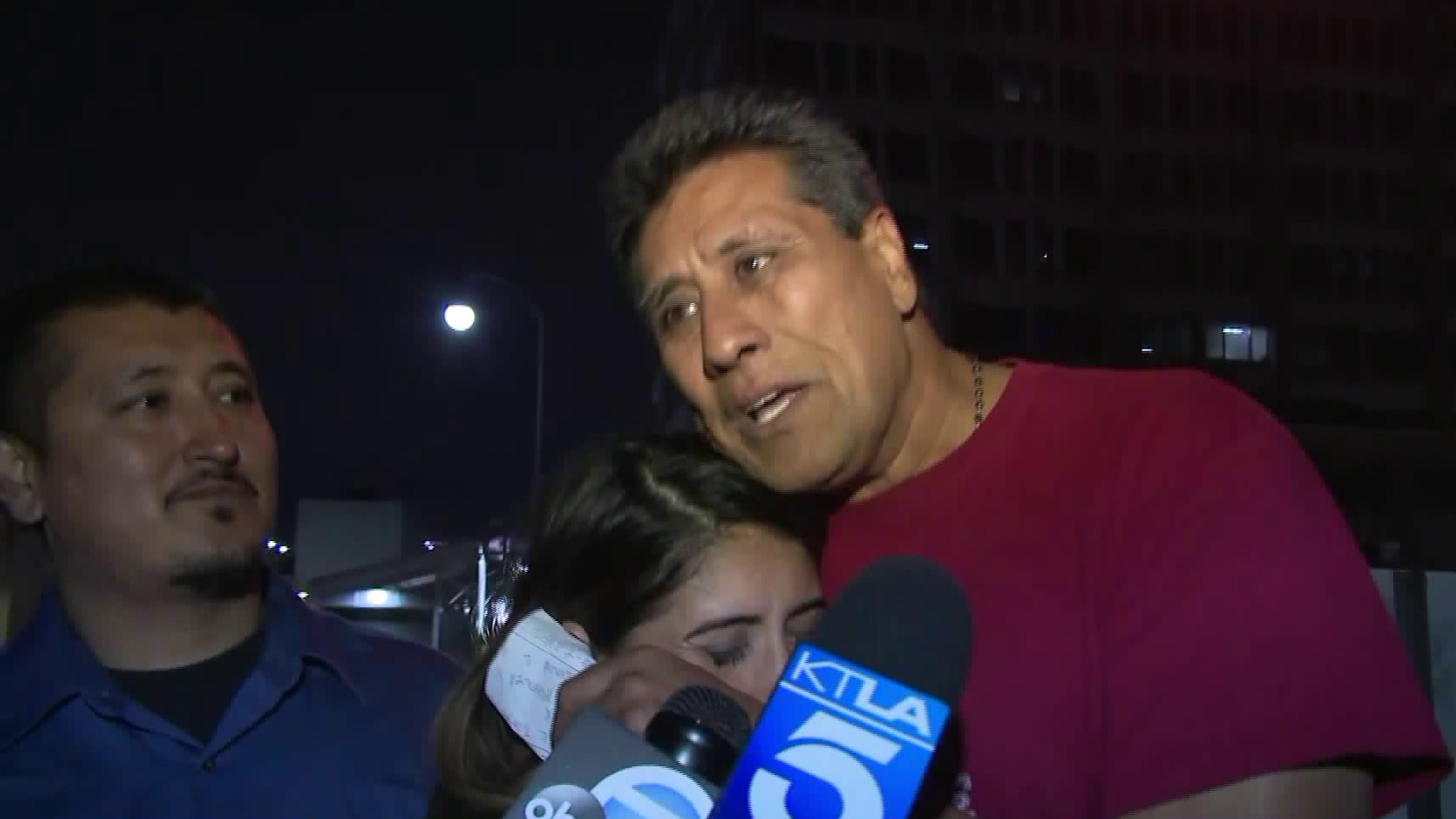 Jose Luis Garcia is greeted by family after being released from ICE custody on June 29, 2018. (Credit: KTLA)