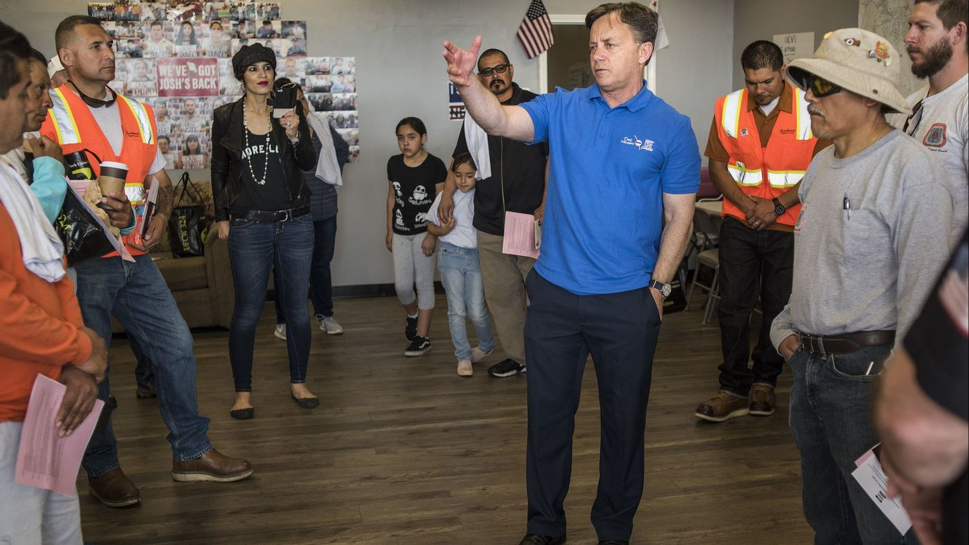 State Sen. Josh Newman speaks to his supporters on May 5, 2018. (Credit: Nick Agro/Los Angeles times)