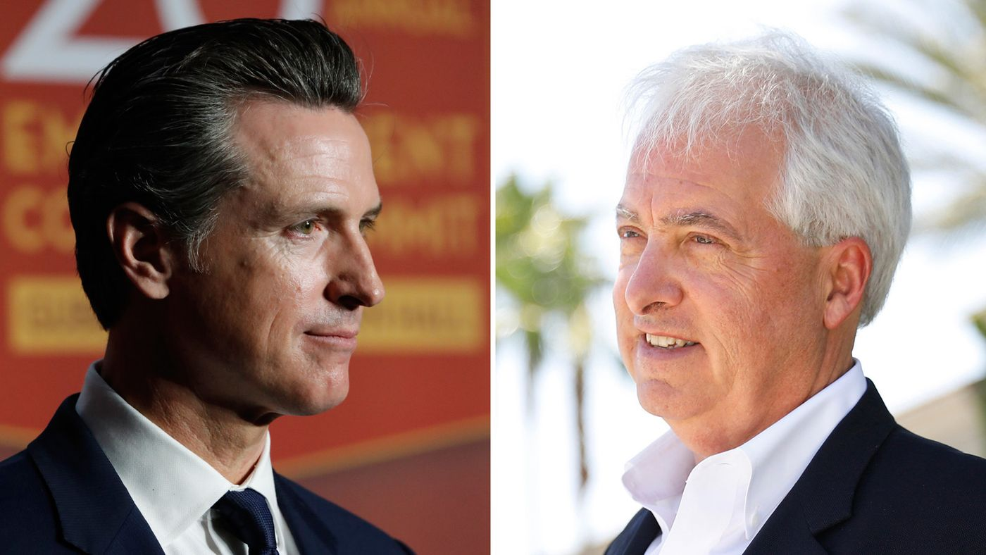 Lt. Gov. Gavin Newsom, left, and Rancho Santa Fe businessman John Cox are seen in undated photos. (Credit: Allen J. Schaben/Christina House / Los Angeles Times)