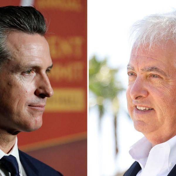 Lt. Gov. Gavin Newsom, left, and Rancho Santa Fe businessman John Cox are seen in undated photos. (Credit: Allen J. Schaben/Christina House / Los Angeles Times)