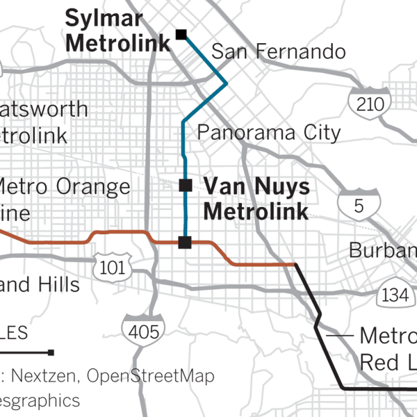 An illustration shows the 9.2-mile light-rail route that will have 14 stops and will add rail transit connections to the Metro Orange Line, the Ventura County Metrolink line and the Antelope Valley Metrolink line. (Credit: Swetha Kannan / Los Angeles Times)