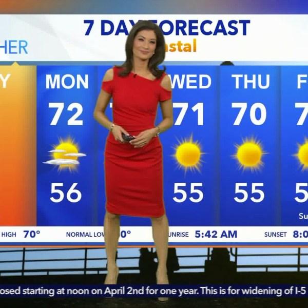 Liberte Chan gives her weather report during the KTLA 5 Weekend Morning News on June 10, 2018. (Credit: KTLA)