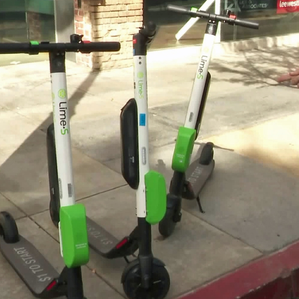 A dockless electric scooter is seen in this file photo. (Credit: KTLA)
