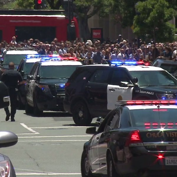 Authorities respond to the scene of a marathon in San Diego where shots fired were reported on June 3, 2018. (Credit: KSWB)