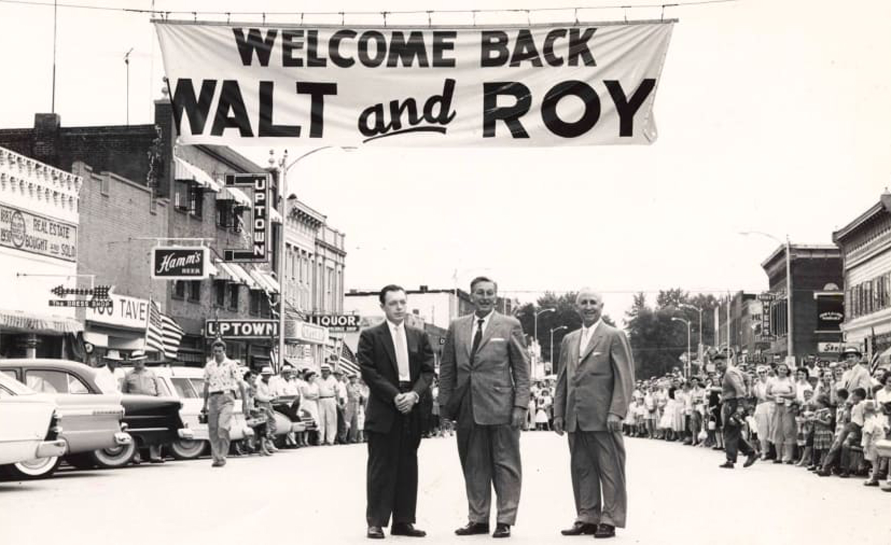 Walt, center, and Roy Disney, right, returned to Marceline in 1956. (Credit: Walt Disney Hometown Museum)