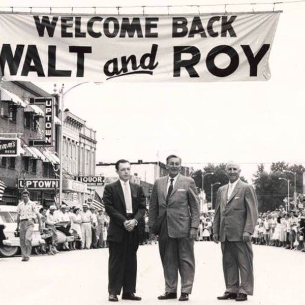 Walt, center, and Roy Disney, right, returned to Marceline in 1956. (Credit: Walt Disney Hometown Museum)