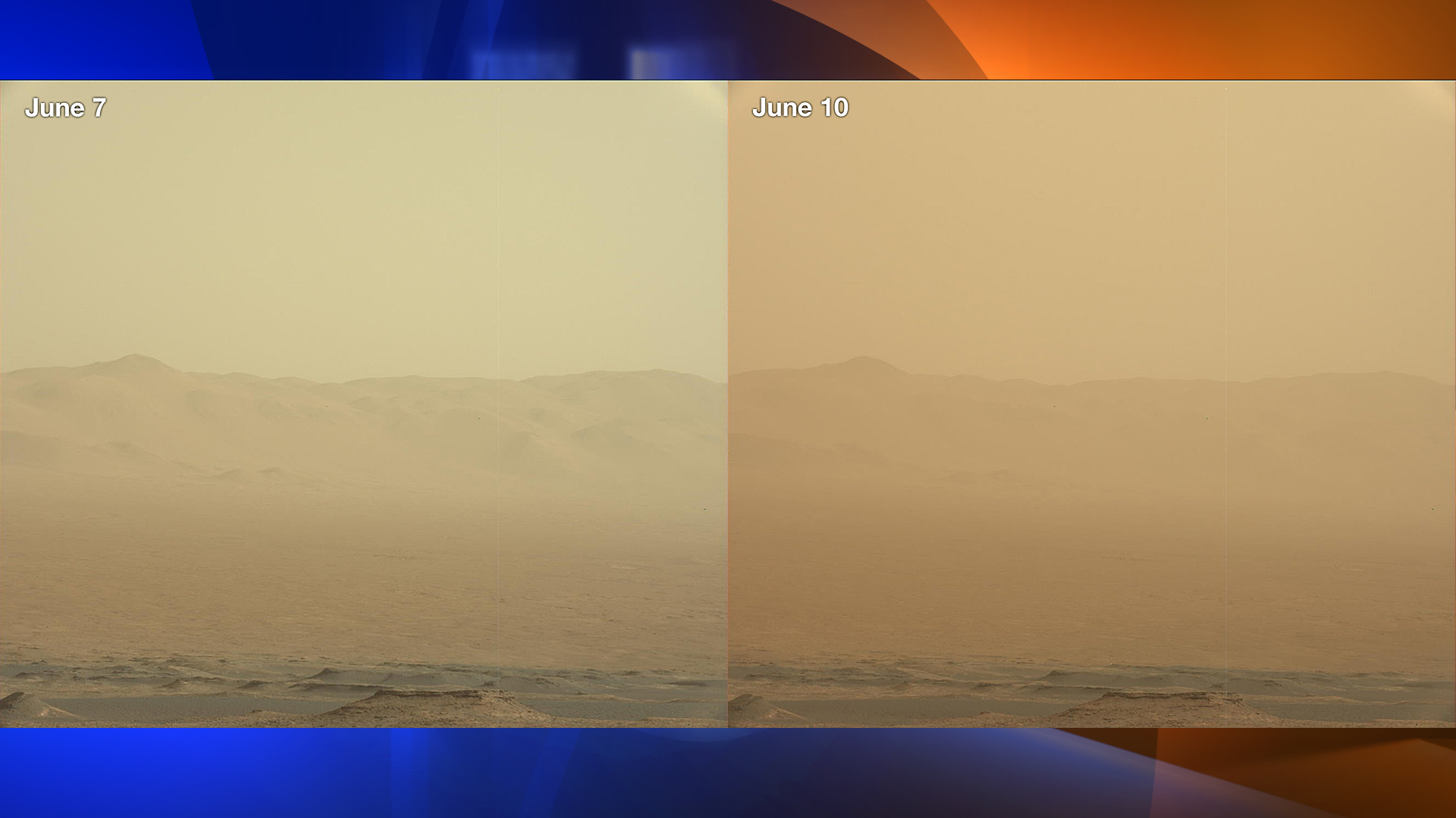 These two views from NASA's Curiosity rover -- from June 7, left, and June 10 -- show how dust has increased over three days from a major Martian dust storm. (Credit: NASA)