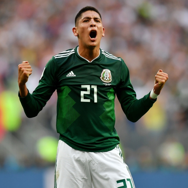 Edson Alvarez of Mexico celebrates following his sides victory in the 2018 FIFA World Cup Russia group F match between Germany and Mexico at Luzhniki Stadium on June 17, 2018 in Moscow, Russia. (Credit: Dan Mullan/Getty Images)