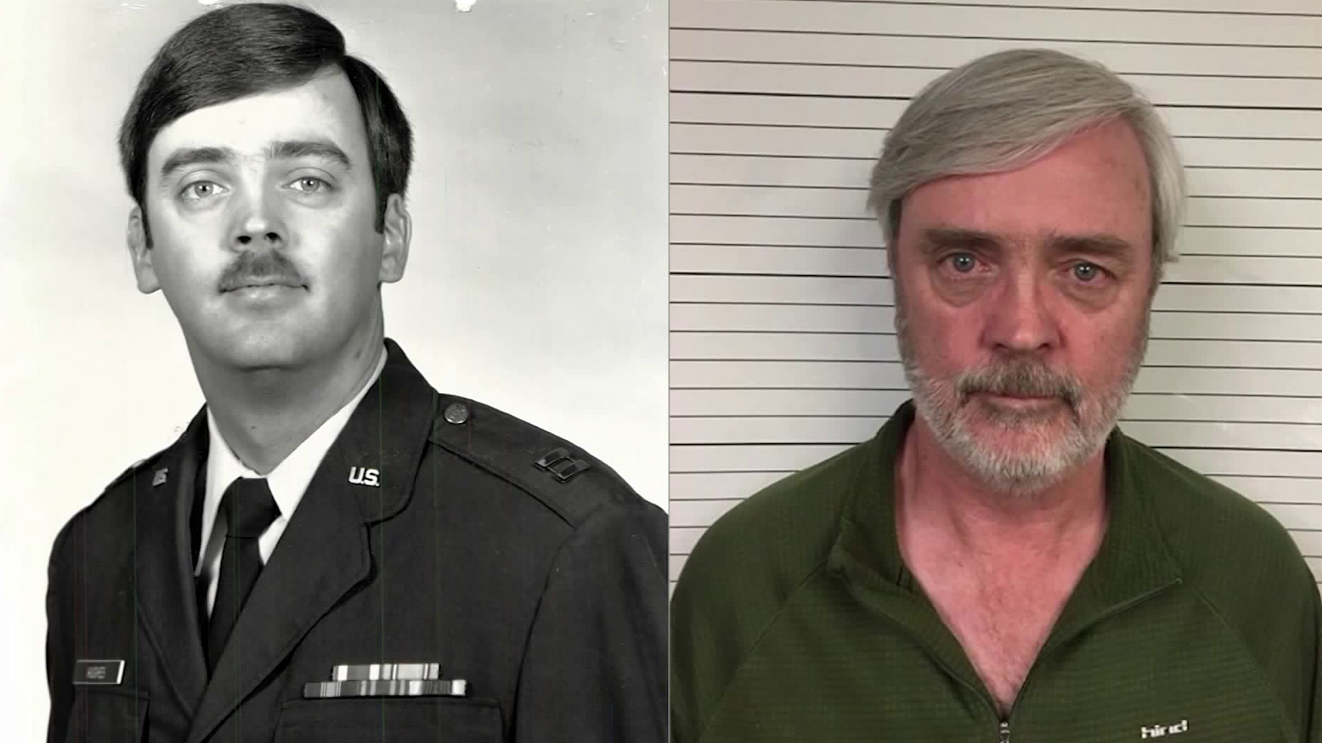 Air Force Capt. William Howard Hughes Jr. is seen in a decades-old official Air Force photo, left, and in a 2018 booking photo. (Credit: U.S Air Force)