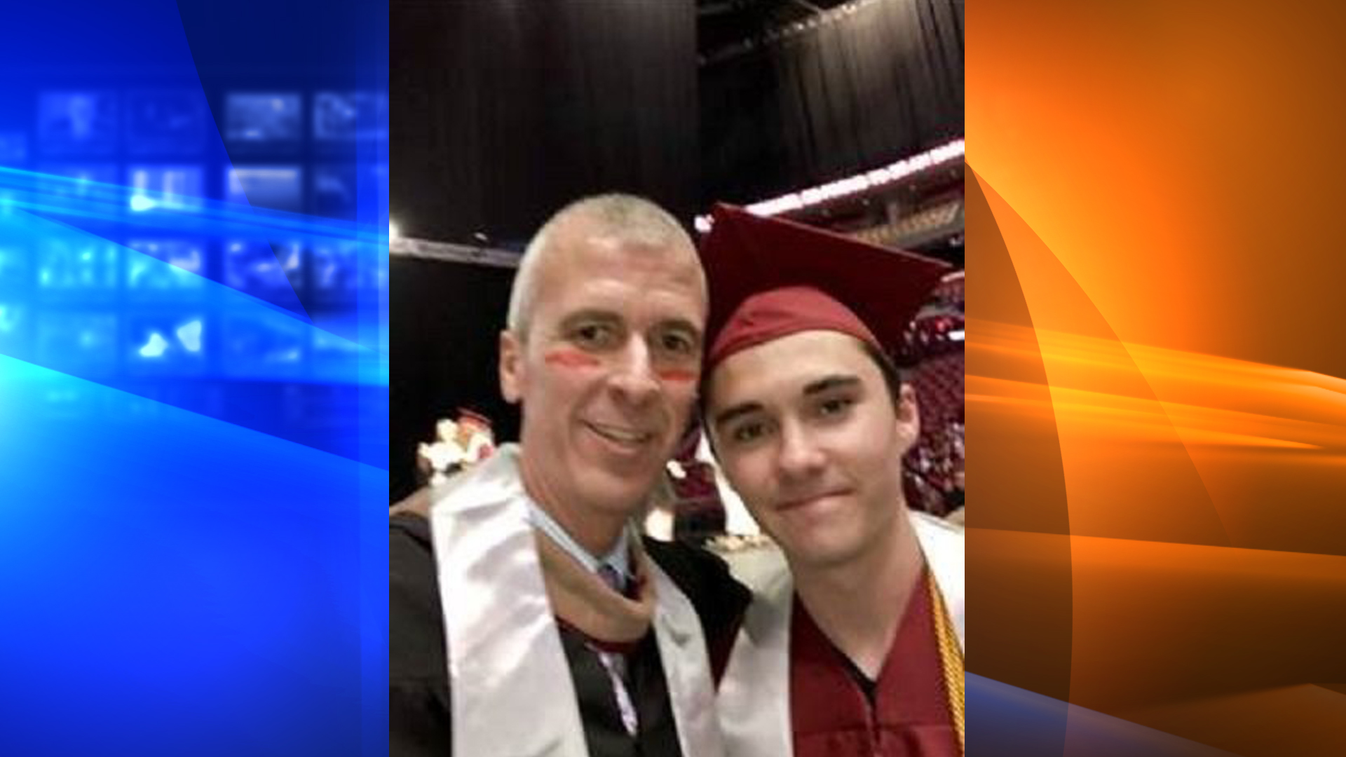 Marjory Stoneman Douglas High School graduation grand marshal Jeff Foster takes a selfie with student David Hogg on June 3, 3018. (Credit: Jeff Foster via CNN)