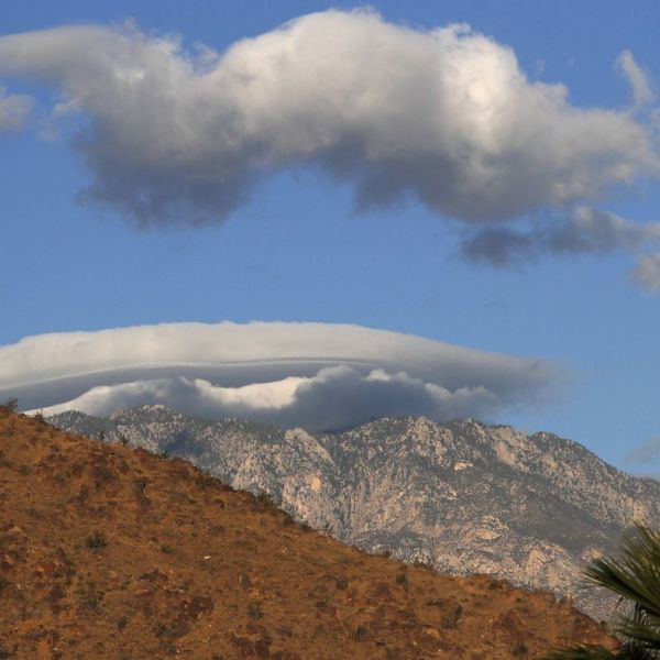 Layers of clouds form over the Santa Rosa Mountains at sunrise in Rancho Mirage in March, 2018. (Credit: Allen J. Schaben / Los Angeles Times)