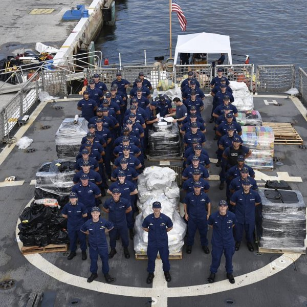 The crew of the U.S. Coast Guard cutter Campbell in Kittery, Maine on June 15, 2018. (Credit: U.S. Coast Guard)