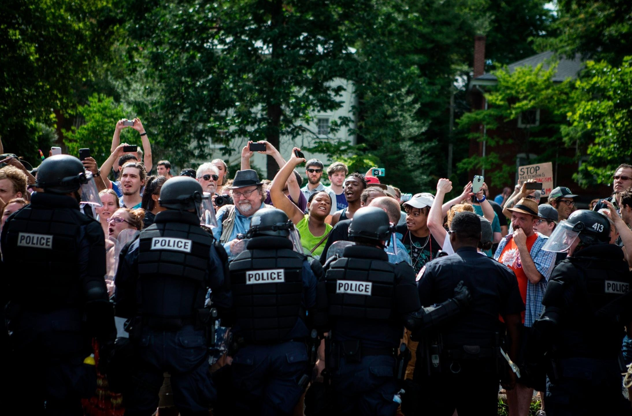"""The organizer of the deadly white nationalist rally in Charlottesville, Virginia, last year has applied for a permit to hold a """"white civil rights rally"""" in front of the White House in August. (Credit: Chet Strange/Getty Images)"""