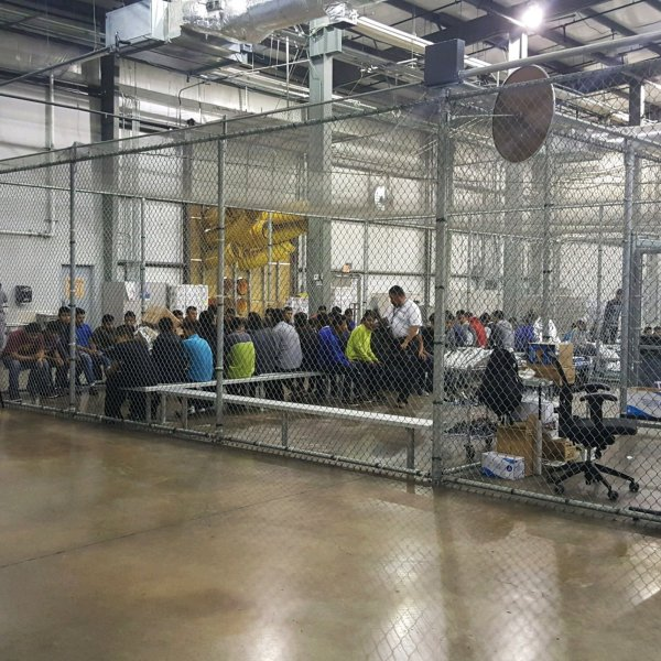 Immigrants are shown on June 17, 2018, inside a detention facility in McAllen, Texas. (U.S. Customs and Border Protection's Rio Grande Valley Sector/Associated Press)