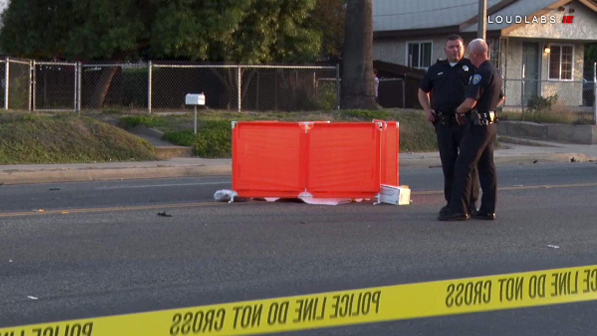 Police investigate a fatal crash in San Bernardino on June 5, 2018. (Credit: Loudlabs)