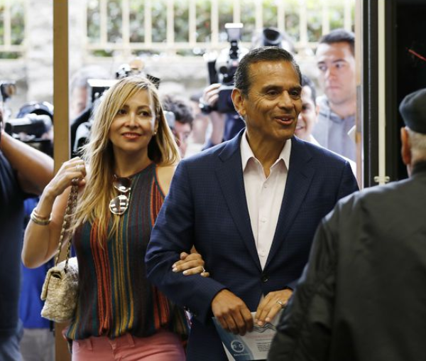 Antonio Villaraigosa, candidate for governor, with his wife, Patty Villaraigosa, dropped off his completed mail ballot on June 5, 2018, at Robert F. Kennedy Elementary School in the City Terrace neighborhood, a few blocks from his childhood home. (Credit: Al Seib / Los Angeles Times)