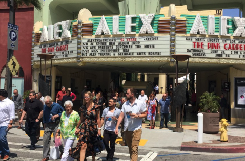 The Gay Men's Chorus of Los Angeles tweeted this image of people evacuating from the Alex Theatre in Glendale on June 23, 2018.