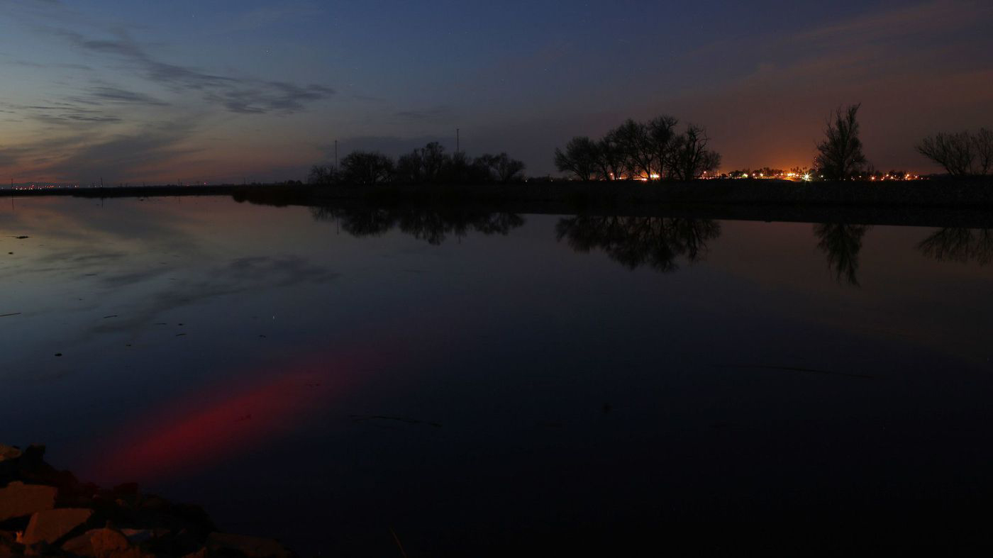 The sunset is reflected in the Middle River in the Sacramento-San Joaquin Delta in an undated photo released on June 8, 2018. (Credit: Katie Falkenberg/Los Angeles Times)