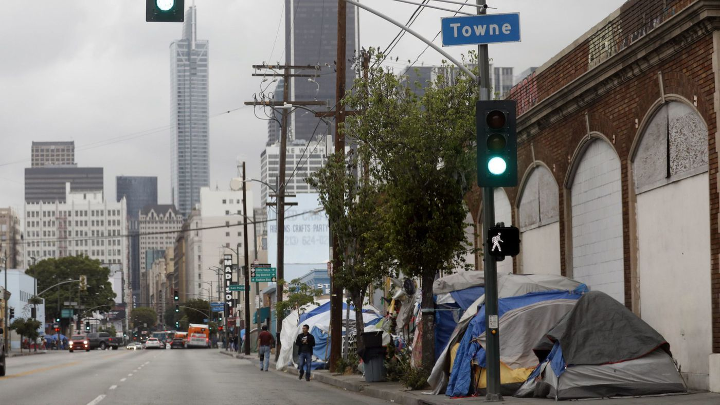 An undated photo shows a tent encampment in downtown Los Angeles. (Credit: Francine Orr / Los Angeles Times)