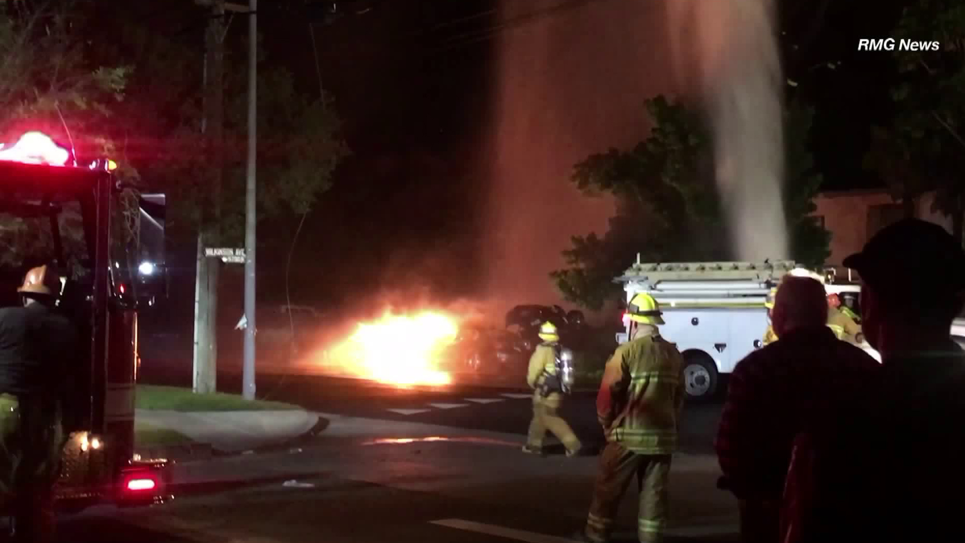 A car crashed into two other cars, a power pole and a fire hydrant in Valley Village on June 7, 2018. (Credit: RMG News)