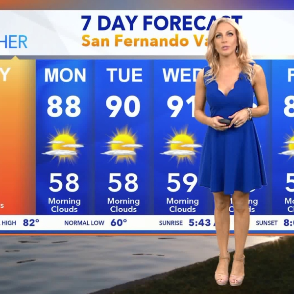 Kacey Montoya presents KTLA's weather forecast on July 24, 2018. (Credit: KTLA)