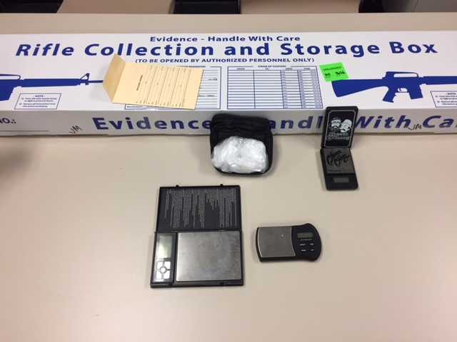 Drug paraphernalia associated with Juan Montez's arrest is seen in a photo provided by Ventura County Sheriff's Office on July 4, 2018.