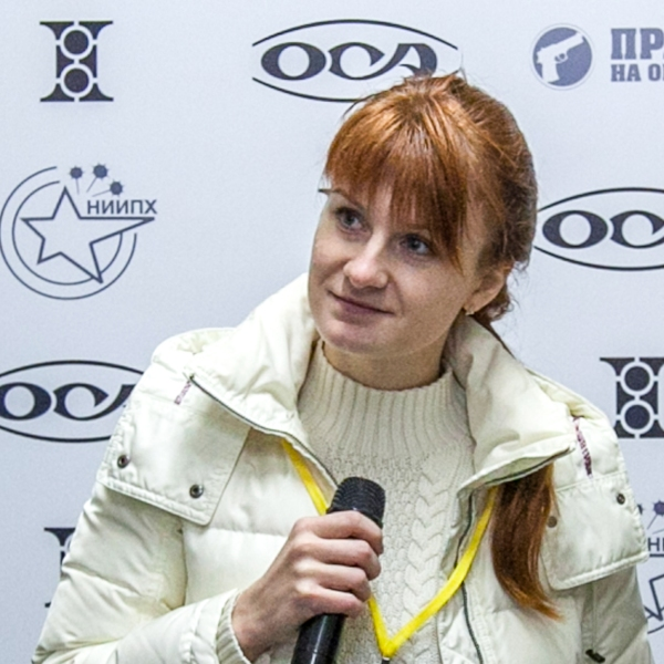 Mariia Butina speaks as a leader of a pro-gun organization on Oct. 8, 2013 during a press conference in Moscow. (Credit: STR/AFP/Getty Images)
