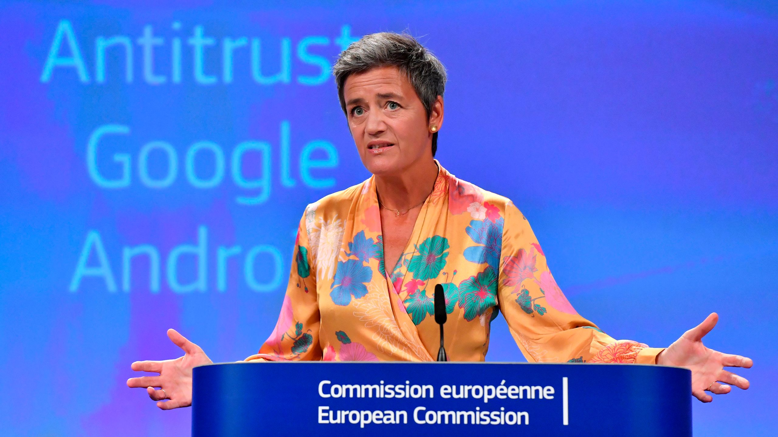 European Union Competition Commissioner Margrethe Vestager gives a joint press at the EU headquarters in Brussels on July 18, 2018. (Credit: John Thys/ AFP)