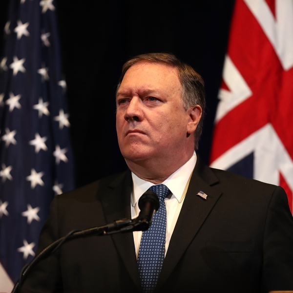 U.S. Secretary of State Mike Pompeo looks on during a press conference at the Australia-U.S. Ministerial Consultations at the Hoover Institution on the campus of Stanford University on July 24, 2018. (Credit: Justin Sullivan/Getty Images)