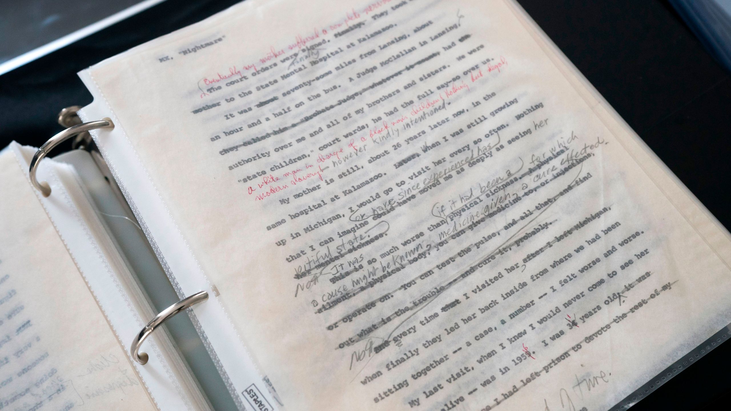 Malcolm X manuscripts are on display by Guernsey's action house July 24, 2018, in New York. The items of African American Historic & Cultural Treasures are to be at auction July 25, 26, 2018. (Credit: DON EMMERT/AFP/Getty Images)