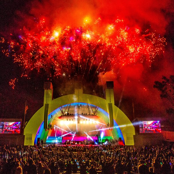 A fireworks display is seen at the Hollywood Bowl in Los Angeles. (Credit: Christopher Polk/Getty Images for CBS Radio Inc.)