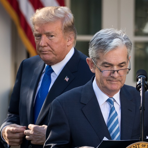 Donald Trump looks on as his nominee for the chairman of the Federal Reserve Jerome Powell takes to the podium during a press event in the Rose Garden at the White House on Nov. 2, 2017. (Credit: Drew Angerer/Getty Images)