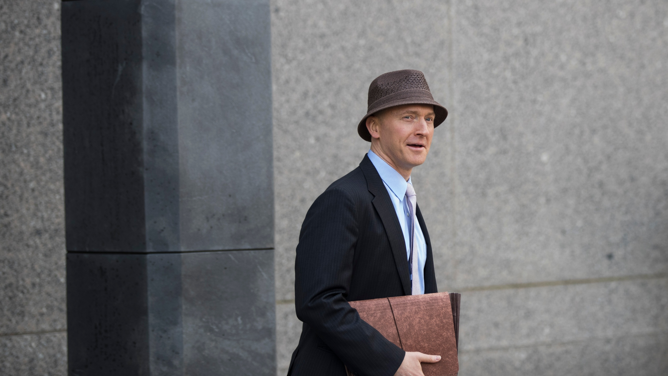 Carter Page arrives at the courthouse on the same day as a hearing regarding Michael Cohen, longtime personal lawyer and confidante for President Donald Trump, at the United States District Court Southern District of New York, April 16, 2018 in New York City. (Credit: Drew Angerer/Getty Images)
