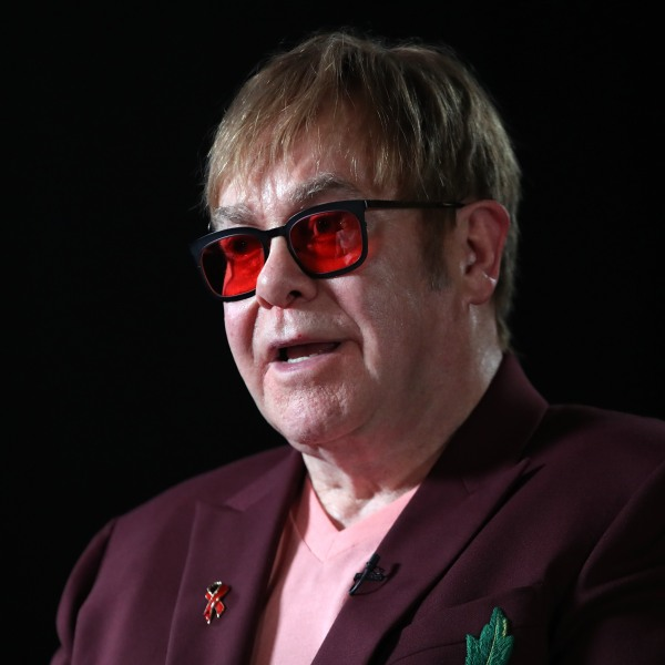 Sir Elton John speaks during a lecture on 'The Diana, Princess of Wales Lecture on HIV' at French Institute South Kensington on June 8, 2018 in London, England. (Credit: Chris Jackson/Getty Images)