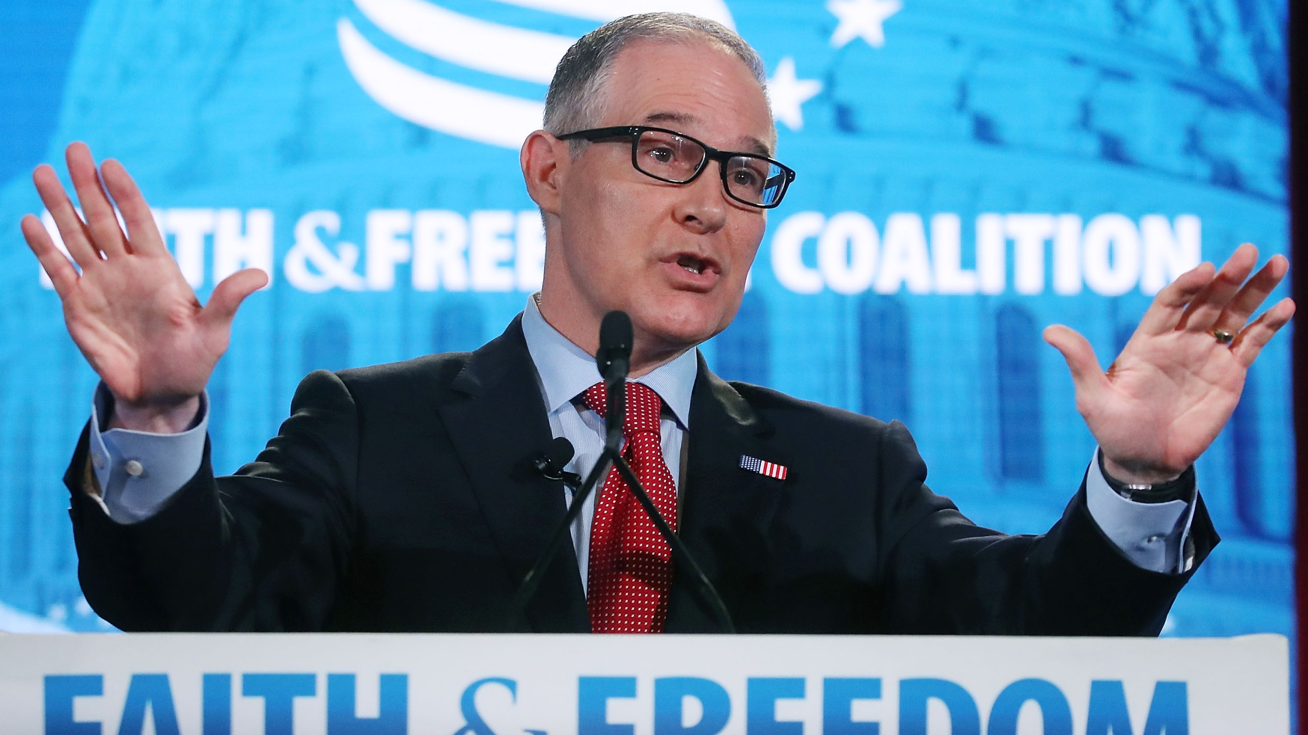 EPA Administrator Scott Pruitt speaks at the Faith and Freedom Coalition Road to Majority Policy Conference, at the Omni Shoreham Hotel, on June 8, 2018, in Washington, D.C. (Credit: Mark Wilson/Getty Images)