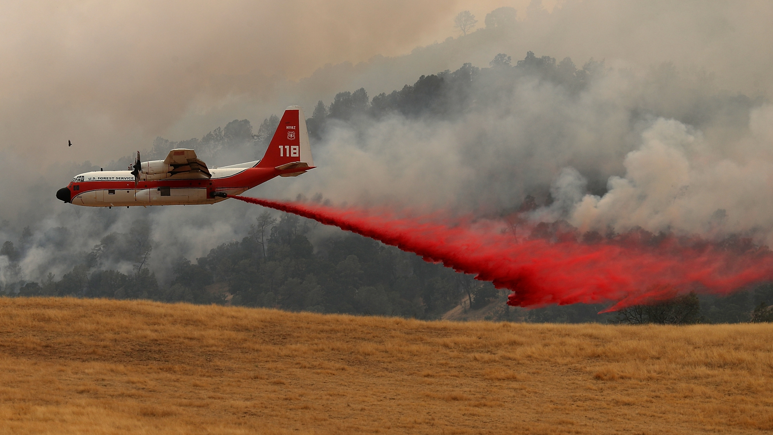 A firefighting air tanker drops Foscheck fire retardant on a hillside ahead of the County Fire on July 2, 2018 in Esparto, California. (Credit: Justin Sullivan/Getty Images)