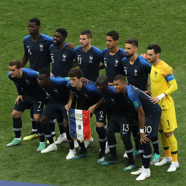 France players pose for a team photo prior to the 2018 FIFA World Cup Final between France and Croatia at Luzhniki Stadium on July 15, 2018 in Moscow, Russia. (Credit: Kevin C. Cox/Getty Images)