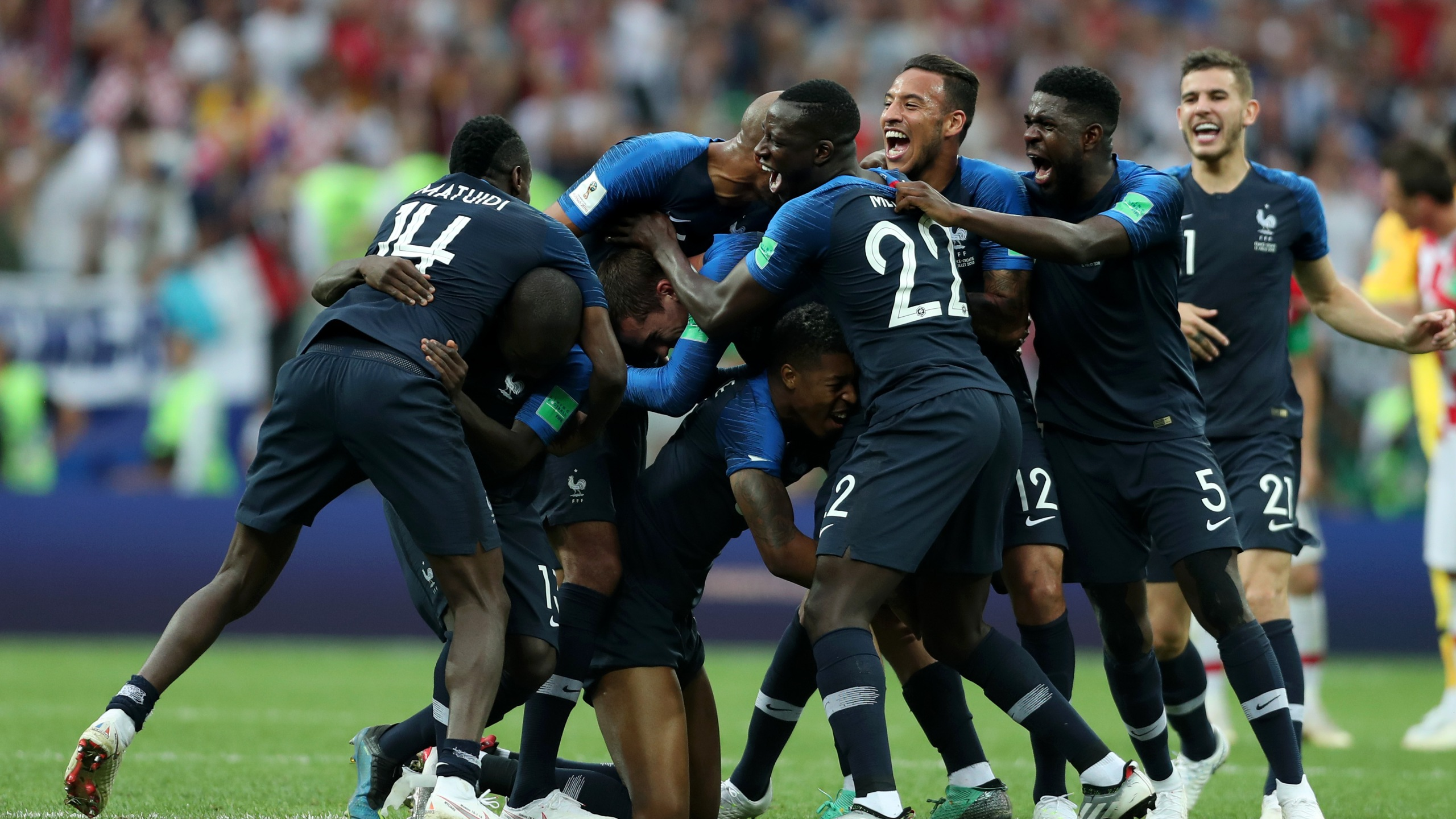 France players celebrate following their victory in the 2018 FIFA World Cup Final between France and Croatia at Luzhniki Stadium on July 15, 2018 in Moscow, Russia. (Credit: Clive Rose/Getty Images)