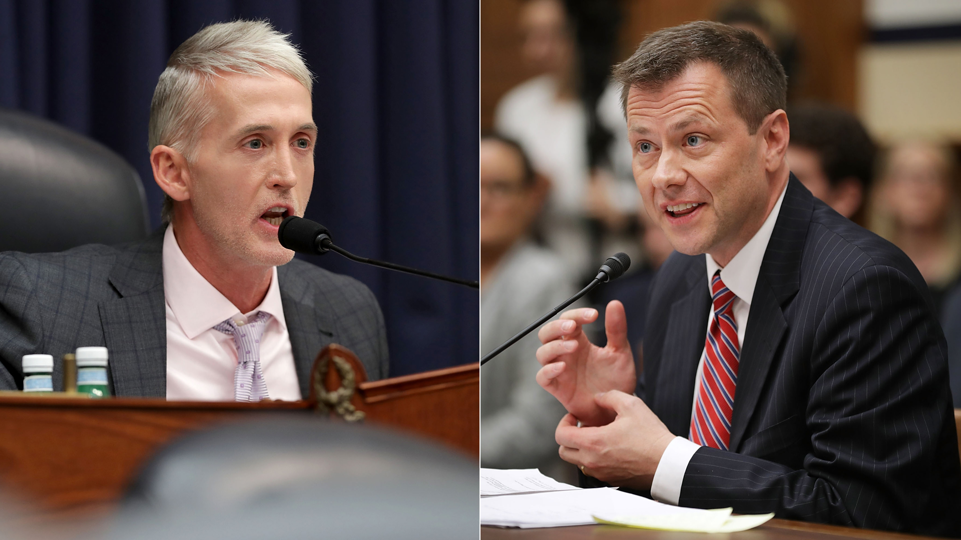 Left, House Oversight and Government Reform Committee Chairman Trey Gowdy (R-SC) questions Deputy Assistant FBI Director Peter Strzok, right, during a joint hearing of his committee and the House Judiciary Committee in the Rayburn House Office Building on Capitol Hill July 12, 2018. (Credit: Chip Somodevilla/Getty Images)