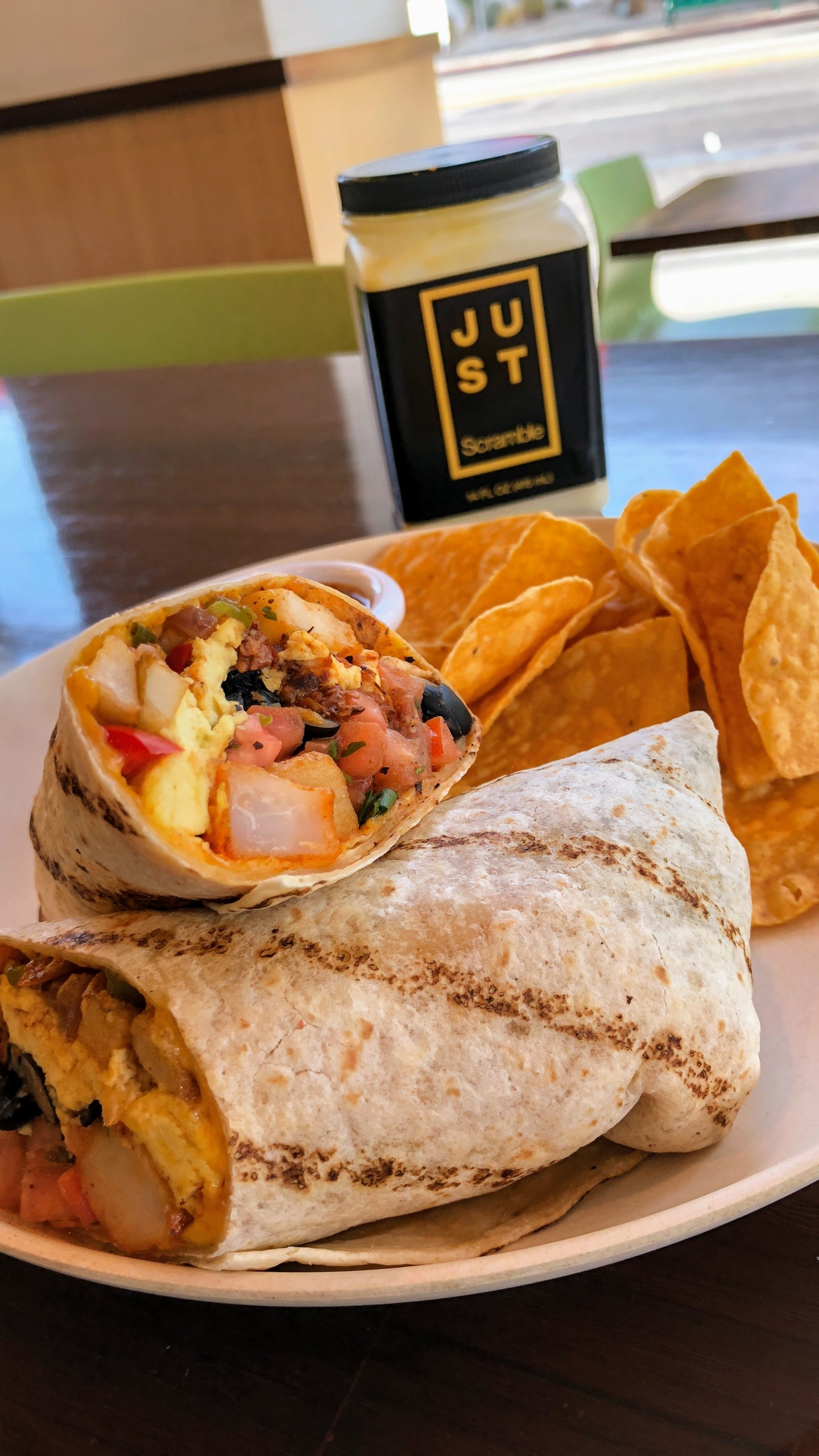 all day breakfast burrito at veggie grill with just egg scramble