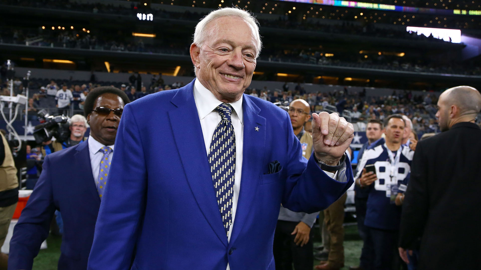 Jerry Jones, owner of the Dallas Cowboys, walks on the field before the game against the Philadelphia Eagles at AT&T Stadium on November 19, 2017 in Arlington, Texas. (Credit: Tom Pennington/Getty Images)