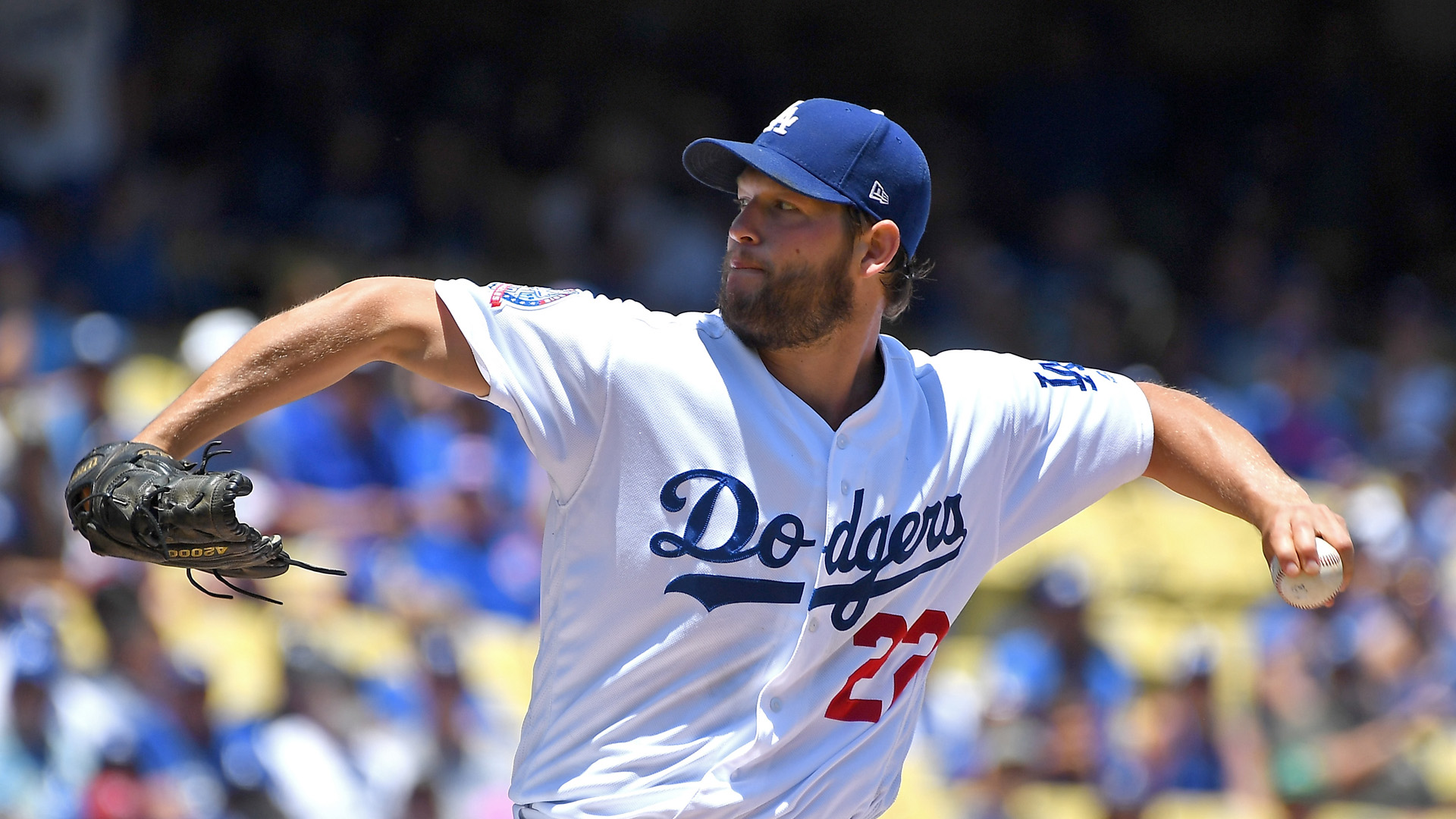 Clayton Kershaw of the Los Angeles Dodgers pitches in the second inning of the game against the Chicago Cubs at Dodger Stadium on June 28, 2018. (Credit: Jayne Kamin-Oncea/Getty Images)