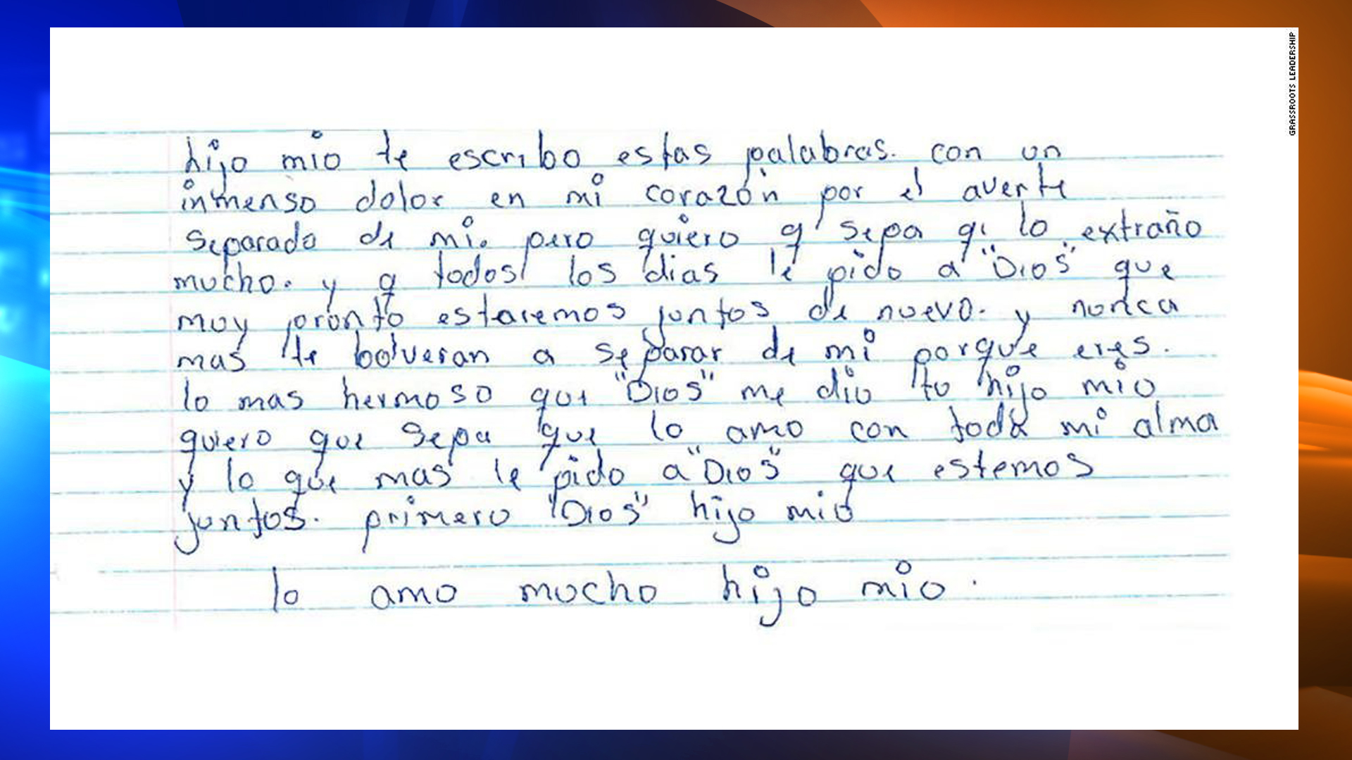 A letter from inside an immigration detention facility is displayed. (Credit: Grassroots Leadership)